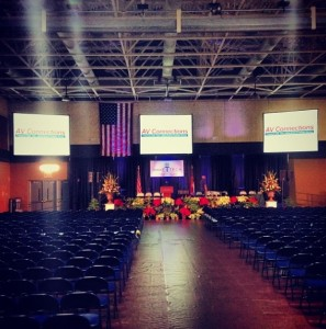 college university commencement audio visual lighting